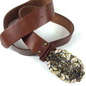 CABI | Brown Leather Belt with Crystal Buckle